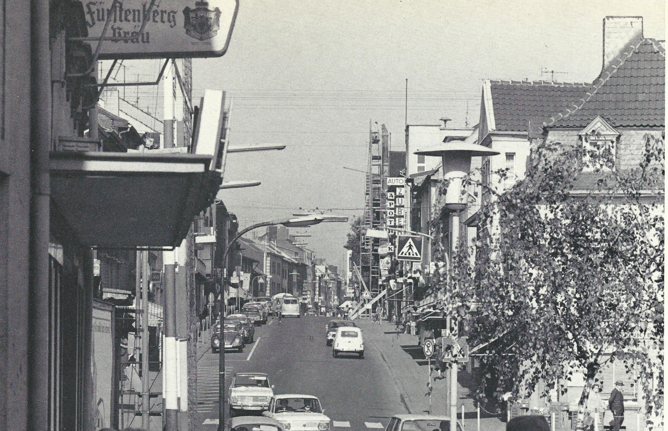 The Kaiserstraße is the main commercial street and important motorway through Würselens (circa 1965)